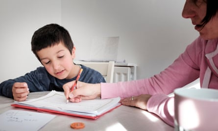 Mother and child home schooling