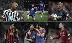 (Clockwise from top left) Newcastle's Salomón Rondón, Eden Hazard celebrates against West Ham, Ashley Young of Manchester United, Liverpool's Jordan Henderson, Crystal Palace's Andros Townsend and James Tomkins, and Dominic Solanke of Bournemouth.