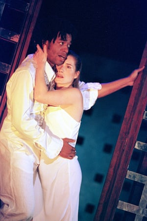 Chiwetel Ejiofor and Charlotte Randle in Romeo & Juliet, Olivier, London, 2000.