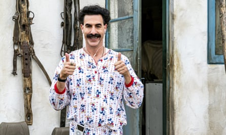 Sacha Baron Cohen in a scene from Borat Subsequent Moviefilm