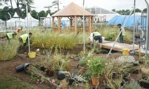 Volunteers at work on the garden.