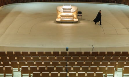 An empty Zaryadye concert hall in Moscow.