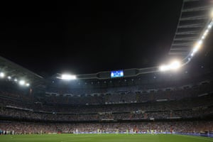 A general view of the Santiago Bernabeu stadium during the action.