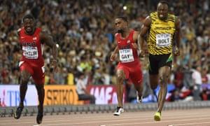 Justin Gatlin, Tyson Gay and Usain Bolt