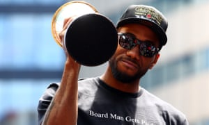 Kawhi Leonard during the Raptors' NBA title victory parade last month