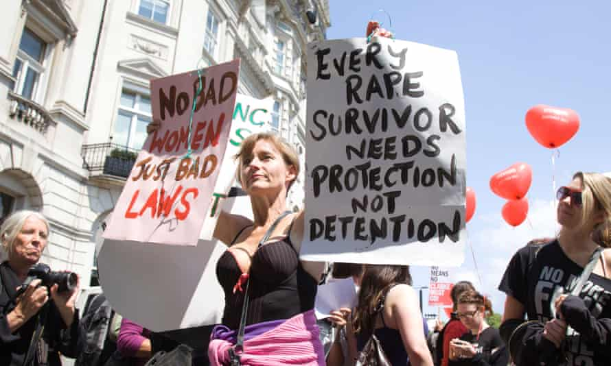 A demonstrator calling for reform of the law around rape: a victim is less likely to see their attacker prosecuted than they were a decade ago.