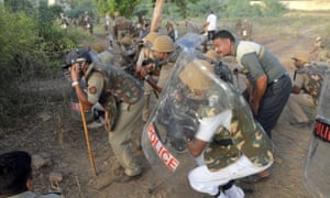 Indian police during clashes in Mathura