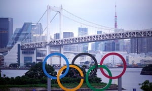 Olympic rings monument, Rainbow bridge in Tokyo