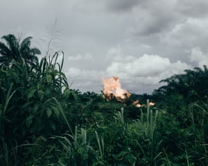 Gas flaring site in Ughelli, Niger delta, Nigeria