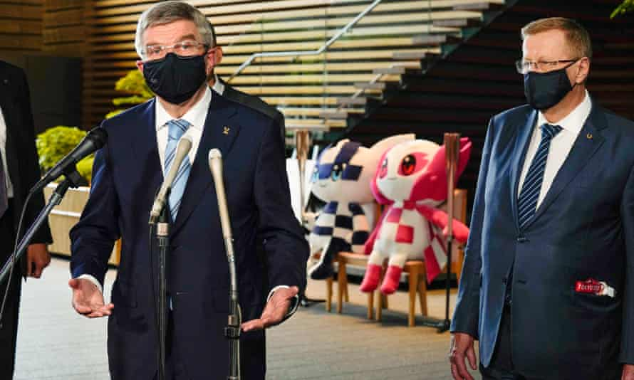 IOC president Thomas Bach meets Japanese prime minister Yoshihide Suga in Tokyo on Wednesday.