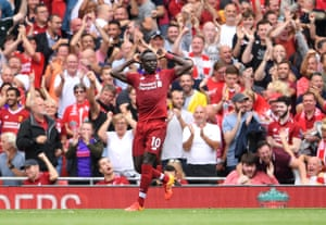 Mane celebrates scoring Liverpool's second.