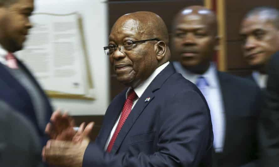 Former South African president Jacob Zuma in the high court in Pietermaritzburg, South Africa.
