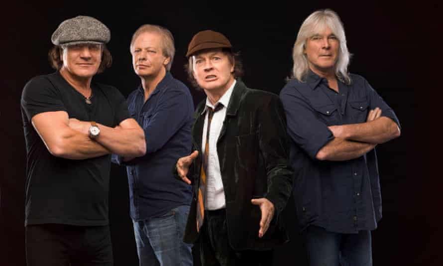 AC/DC … Pictured in 2014, with Cliff Williams, right, and the since departed Brian Johnson, left