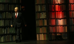 Readers need to be brave in Putin's Russia ... the president attends the closing ceremony of the country's 2015 Year of Literature.