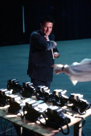 John Cage sets up telephones for Variations VII.
