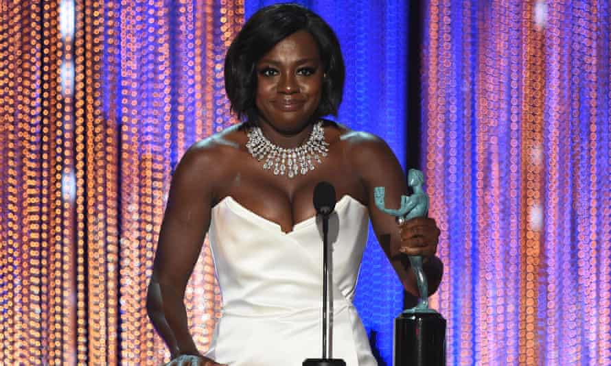 Viola Davis accepts the award for outstanding performance by a female actor in a supporting role for Fences.