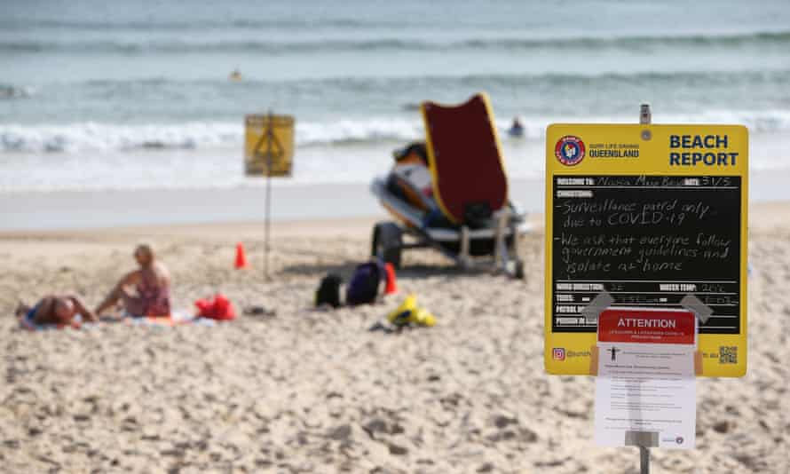 A beach-closed notice in Noosa