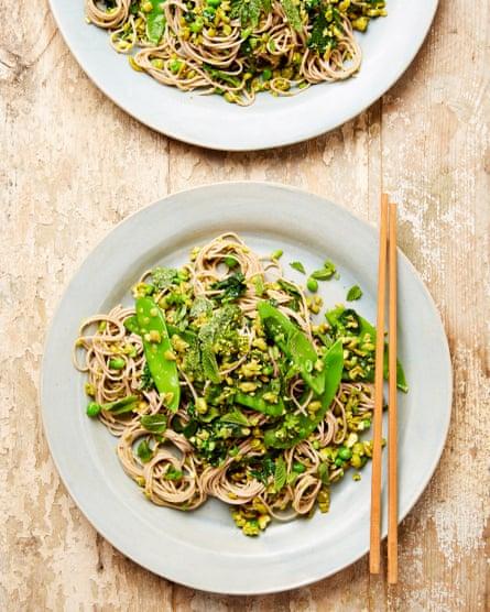 Pistachio, pea and mint soba noodles.