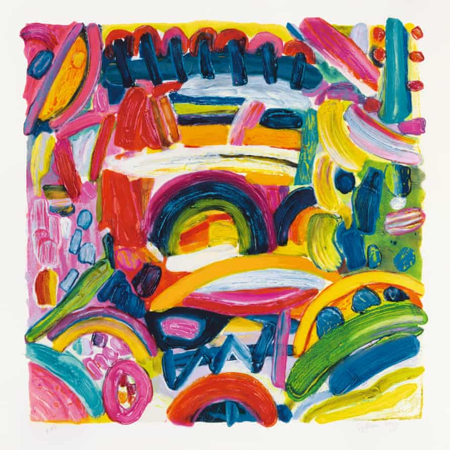 Jack Shirreff's carborundum etching, with hand painting, of Gillian Ayres's At This Stage, 2001.