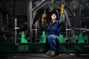 Chancy Davis is the only female welder at the New Flyer Industries bus factory in St Cloud, Minnesota. 'For me personally, I can't sit behind a desk. This, along with my good attention to detail, made welding a right fit for me. There are people out there who are old-fashioned and set in their ways and think this isn't a woman's field. I want to show them that people can do whatever they set their minds to by being a living example of this.'