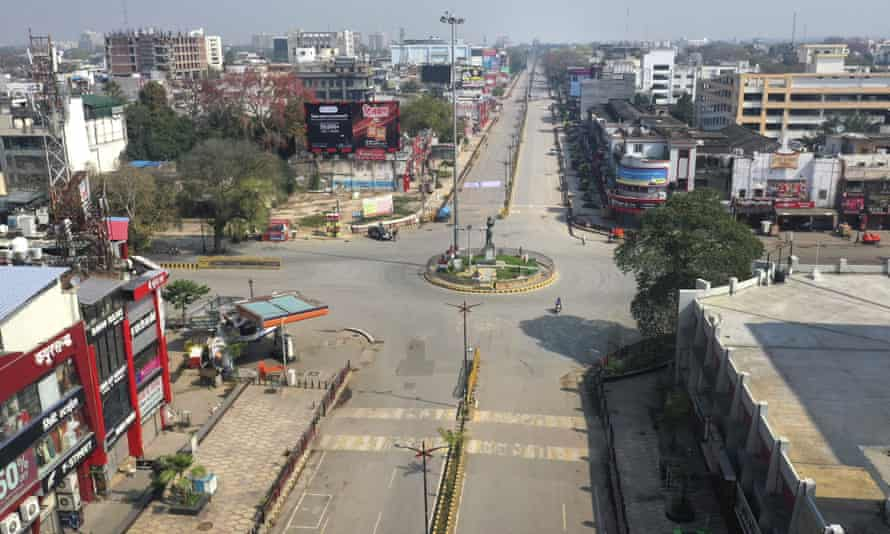 A deserted square in Prayagraj. The curfew came as the number of coronavirus cases in India rose to 360