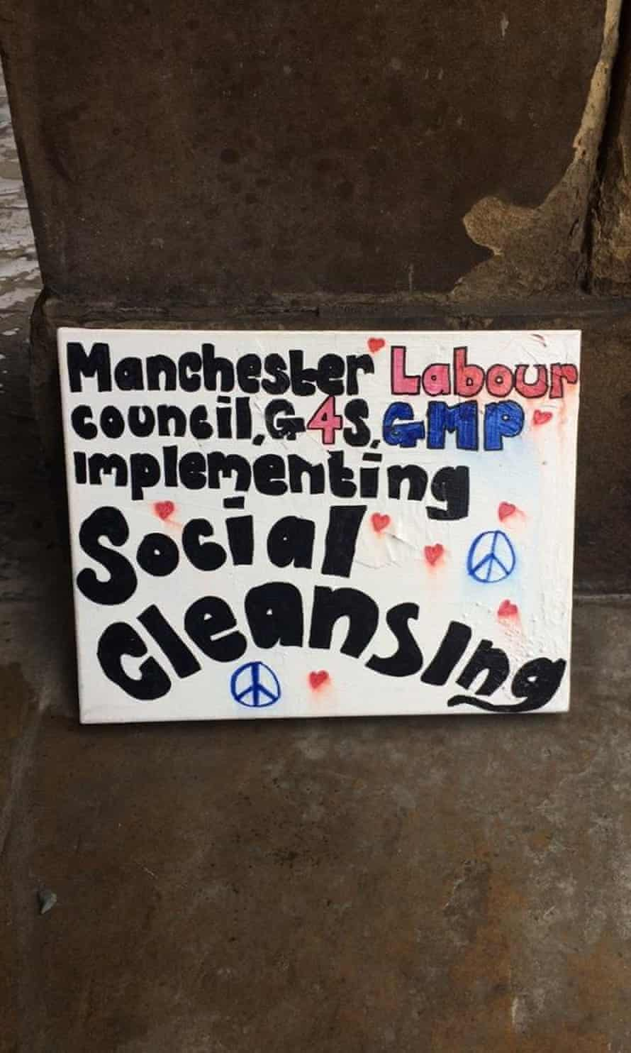 Poster at the homeless protest camp in St Peter's Square in Manchester