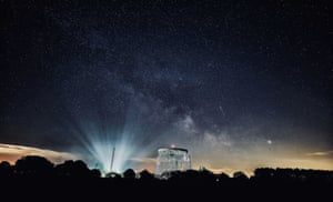 Macclesfield, England: Shooting stars and the Milky Way are seen over the Lovell telescope at Jodrell Bank Observatory in Cheshire. The Lovell telescope was the world's largest steerable dish radio telescope, 76.2 metres (250 feet) in diameter when it was constructed in 1957. It is now the third largest in the world