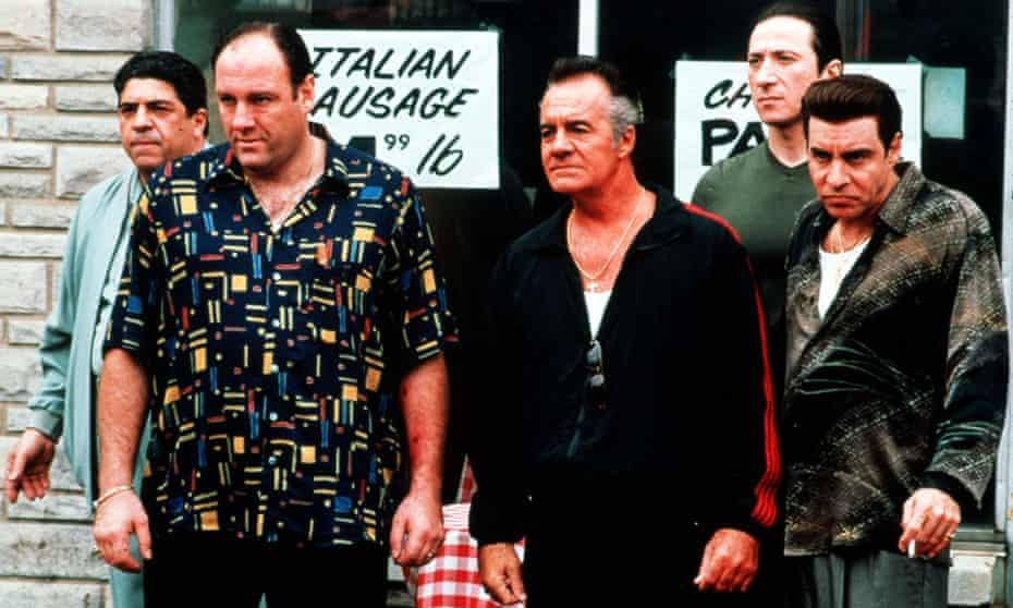 Vincent Pastore as Big Pussy Bompensiero; James Gandolfini as Tony Soprano; Tony Sirico as Paulie Walnuts; Federico Castellucio as Furio Giunte; Steven Van Zandt as Silvio Dante in the Sopranos from 2001.