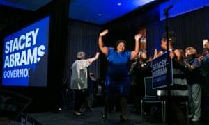 Stacey Abrams takes the stage to declare victory in the primary on Tuesday night.