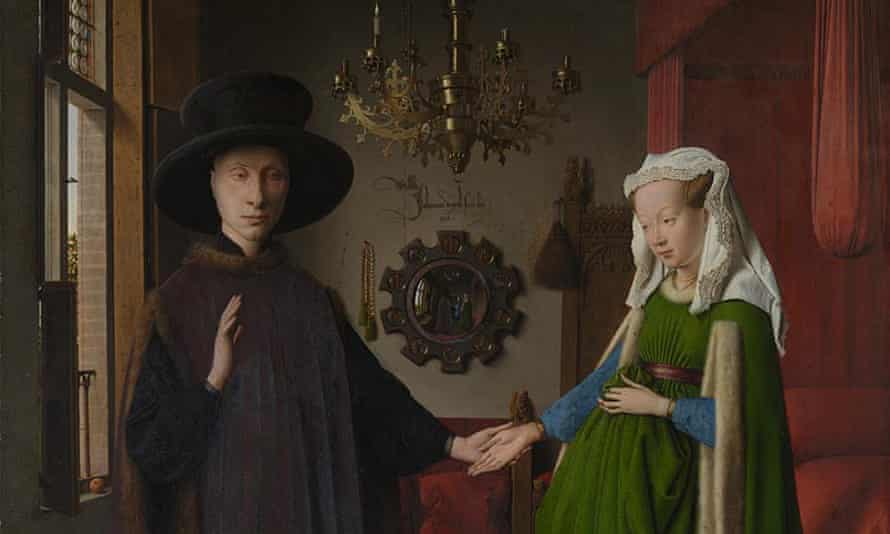 Jan van Eyck's Arnolfini Portrait is one of many classic works to be recreated by resourceful people in lockdown.