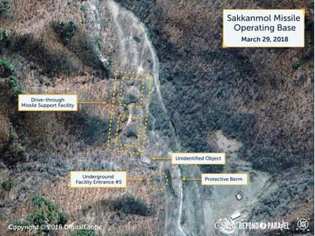 A Digital Globe satellite image shows what CSIS reports is an undeclared missile operating base at Sakkanmol.
