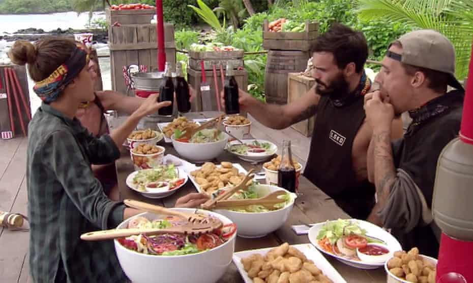 Survivor Australia contestants eating KFC.
