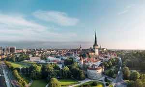 Aerial view, on a blue sky day, of Tallinn old town, Estonia.