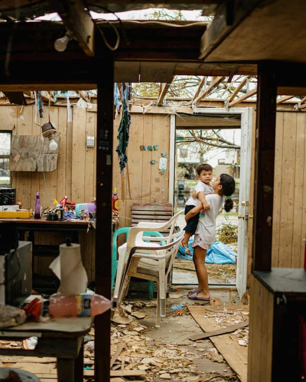 April Badillo's children at Earline Naquin's home.