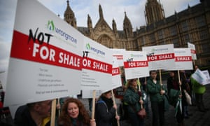 Anti-fracking protesters gather near parliament earlier this year.