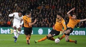 Michy Batshuayi's deflected shot puts Chelsea ahead.