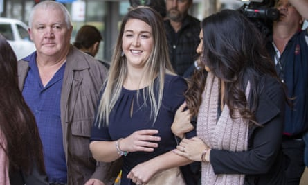 Ayla Cresswell leaves the supreme court in Brisbane after being granted the right to use her dead boyfriend's sperm to have a baby.