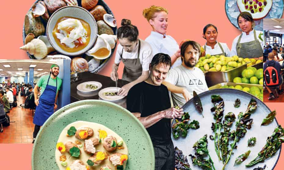 Composite image: dishes from Noma, plus its founders and various alumni