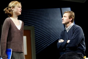 Julia Stiles and Aaron Eckhart in Oleanna at the Garrick in 2004