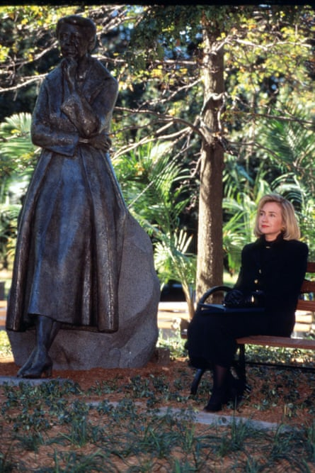 Hillary Clinton sits at the unveiling of Eleanor Roosevelt statue at Riverside Park on 5 October 1996 in New York City.