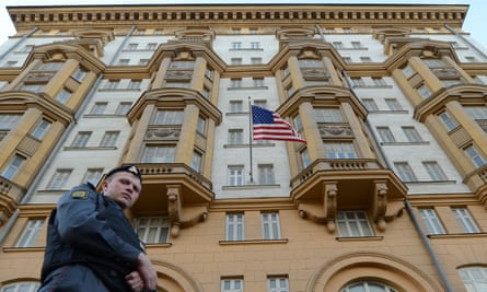 File photo of Russian police officer patrolling a street in front of the US embassy in Moscow