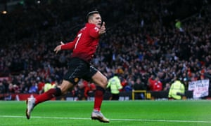 Alexis Sánchez celebrates after his header completed a dramatic comeback to drag José Mourinho back from the brink.