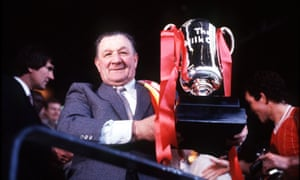 Bob Paisley with the Milk Cup after Liverpool's Wembley win over United in 1983.
