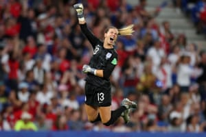 Carly Telford of England celebrates after her team's first goal in their semi final match against USA at Stade de Lyon.
