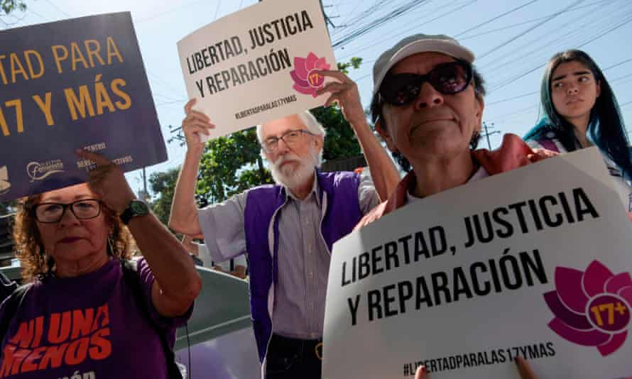 Activists outside the women's rehabilitation centre in Ilopango, El Salvador