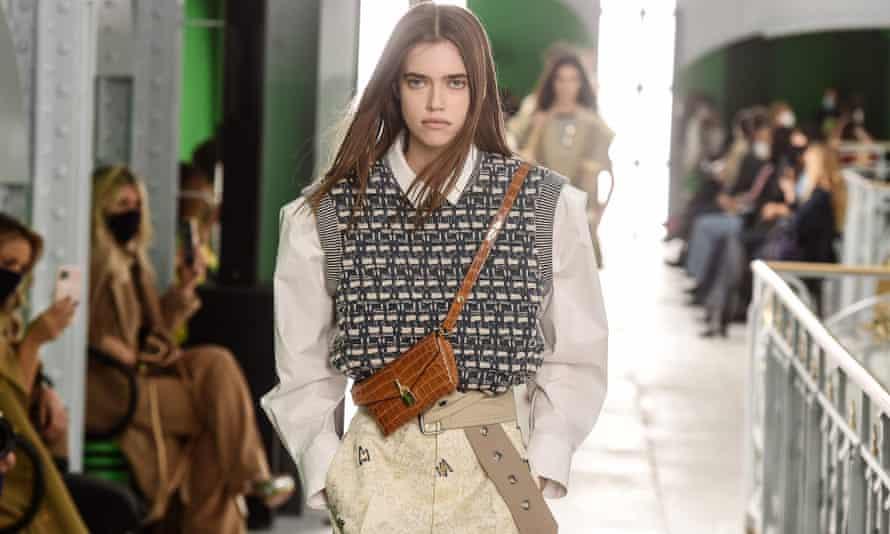 A model on the Louis Vuitton catwalk.