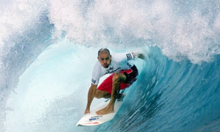 Kelly Slater aims to replicate the perfect barrel-wave conditions in places such as Tahiti, above, in a pool in California, miles from the ocean.