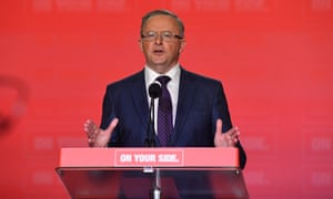 Anthony Albanese speaks at the Australian Labor party national conference at the Revesby Workers Club in Sydney