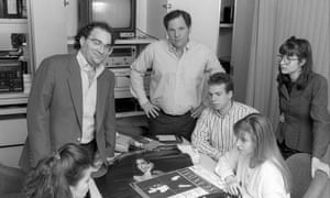 American film producers Harvey Weinstein and his brother Bob Weinstein, left, of Miramax Films at their offices in New York City, in 1989.