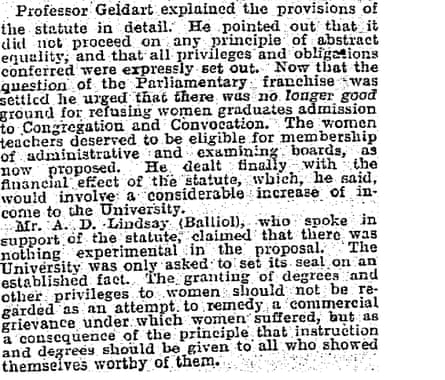 Oxford degrees for women: preamble of new statute approved, Feb 18 1920